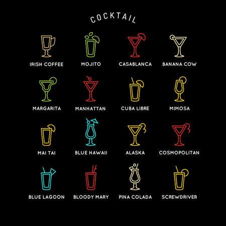 Illustration for bar menu set alcoholic cocktails. Vector line drawing of a Drink on a dark background. Illustration