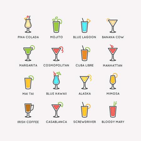 Illustration for bar menu set alcoholic cocktails. Vector line drawing of a Drink on background. Vektorové ilustrace