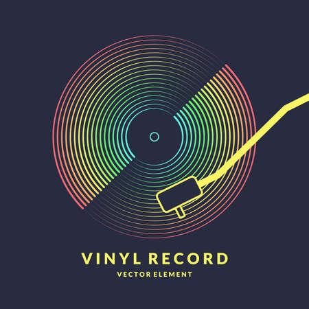Affiche du disque vinyle. Musique d'illustration vectorielle sur fond sombre.