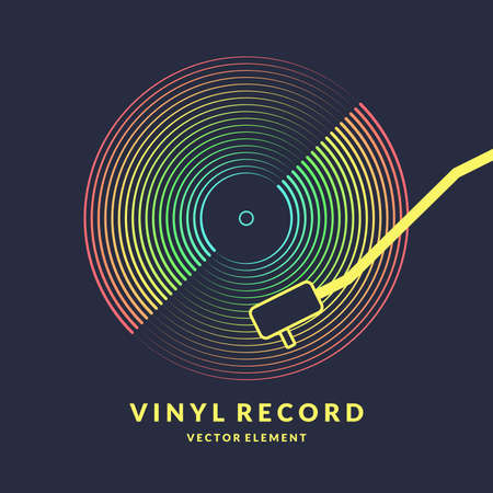 Poster of the Vinyl record. Vector illustration music on dark background. Иллюстрация