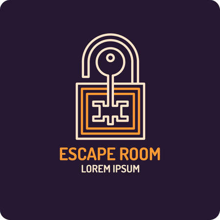 Illustration of lock and key. Real-life room escape and quest game emblem. Illustration
