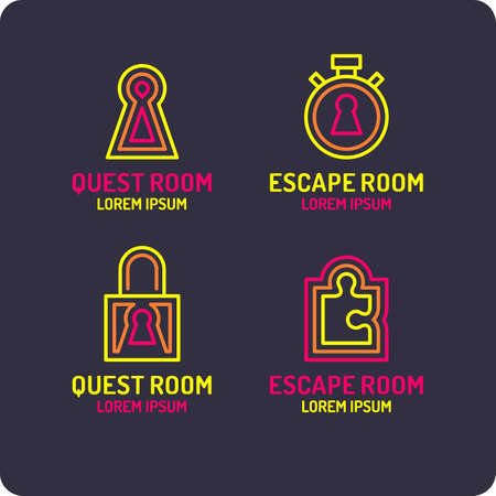 Real-life room escape. The logo for the quest room vector illustration.