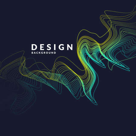 Vector abstract background with a colored dotted dynamic waves, line and particles. Illustration suitable for design