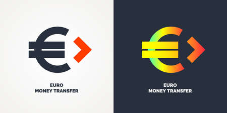 Modern money transfer logo and emblem. Vector illustration Çizim