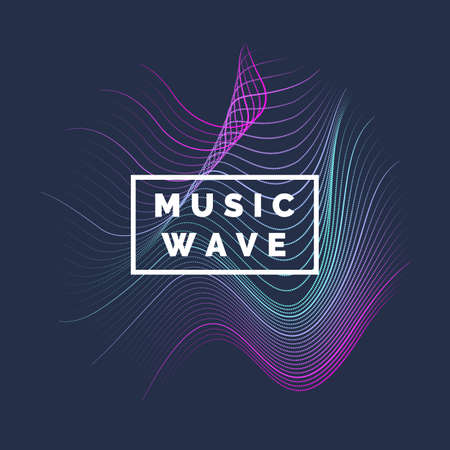 rainbow colors: Vector abstract background with a colored dynamic waves, line and particles. Vector Illustration waveform.