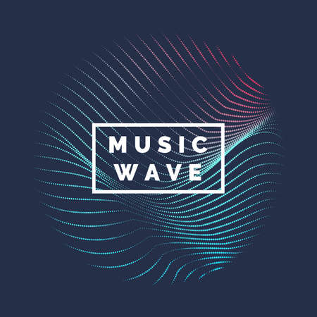Abstract colored dynamic waves, line and particles Illustration.