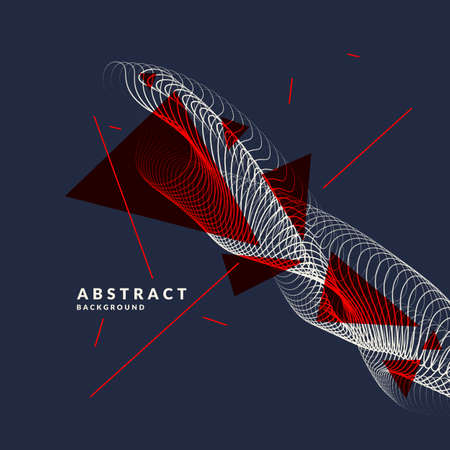 Vector abstract background with dynamic waves, line and particles. Illustration suitable for design Illusztráció
