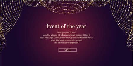 Einladungsvorlage für das Ereignis. Vektor-Illustration. Hintergrund offener Vorhang. Standard-Bild - 86211229