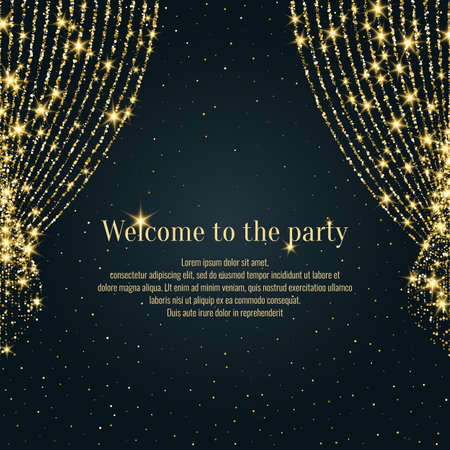 Invitation template for the event. Vector illustration. Background open curtain. 向量圖像