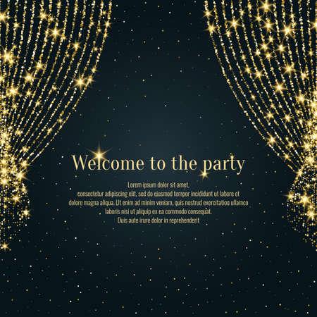 Invitation template for the event. Vector illustration. Background open curtain. Vettoriali