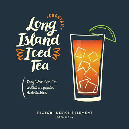 Modern hand drawn lettering label for alcohol cocktail Long Island Iced Tea. Calligraphy brush and ink. Handwritten inscriptions for layout and template. Vector illustration. Ilustrace