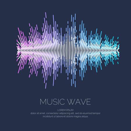 暗い背景にイコライザーの形で音楽波のベクトル イラスト。  イラスト・ベクター素材