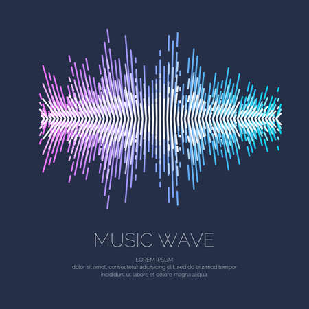 Vector illustration of music wave in the form of the equalizer on dark background.