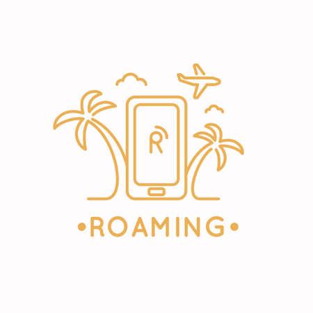 Linear vector illustration of international roaming on the mobile phone. Illustration