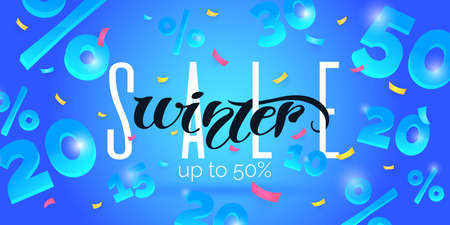 Winter sale banner. Original poster for discount. Bright abstract background with text.