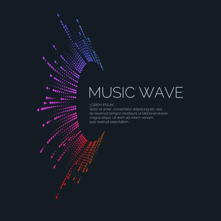 黒の背景にイコライザーの形で音楽の波のベクトルイラスト  イラスト・ベクター素材