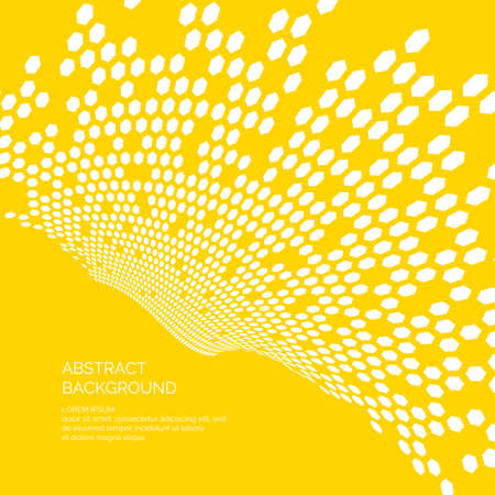 Vector abstract background with dynamic plane of hexagons. Illustration is suitable for design. Illustration