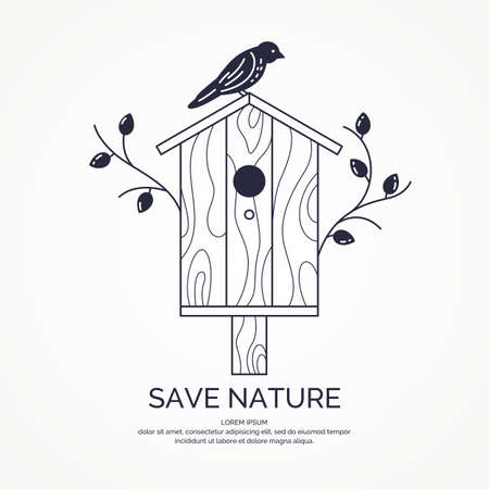 Poster with a picture of the birdhouse.