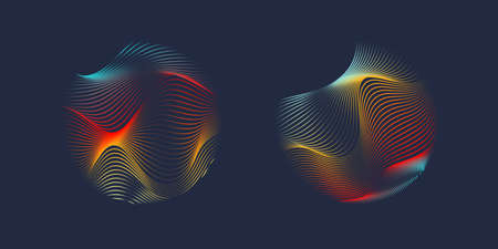 Vector abstract design with a colored dynamic waves, line and particles