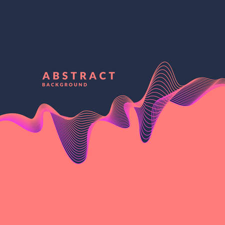 Abstract geometric background with dynamic waves. Vector illustration template for design. Фото со стока - 90517233