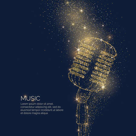 Bright music poster with microphone of glitter and place for text Vector illustration