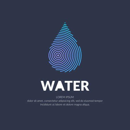 水滴のモダンなラインベクトルロゴ。暗い背景にミニマルなスタイルのイラスト