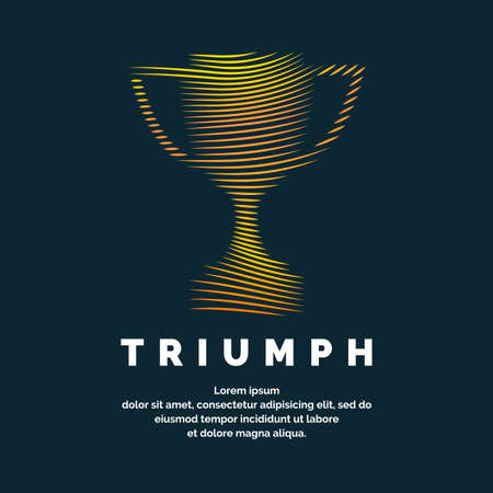 The champions Cup. Sports trophy, a prize to the winner. Vector illustration.