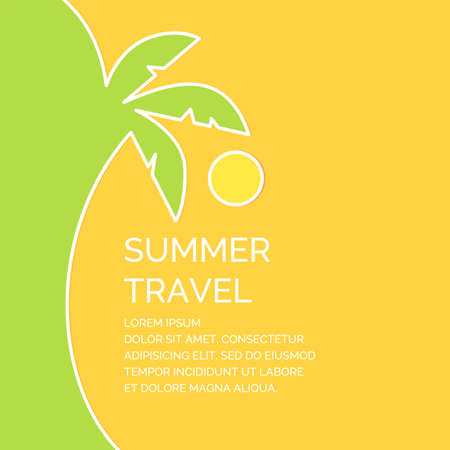 Summer travel poster in a linear style. Vector illustration on a yellow background. Illustration