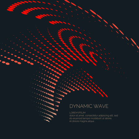 Vector abstract background with a colored dynamic waves, line and particles illustration suitable for design.