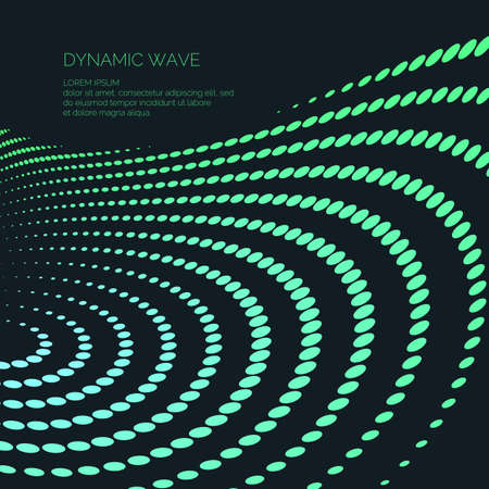 Vector abstract background with a colored dynamic waves, line and particles. Illustration suitable for design.