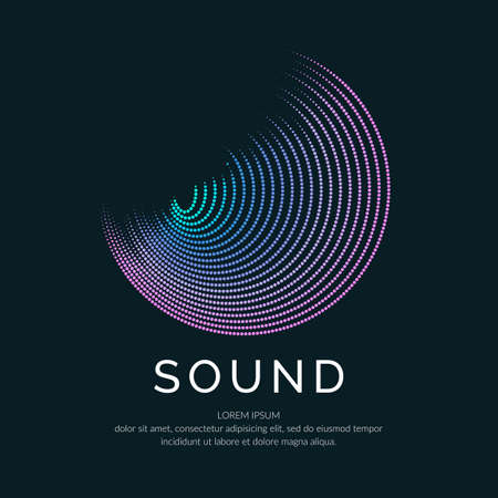 Poster of the sound wave. Vector illustration music on dark background.