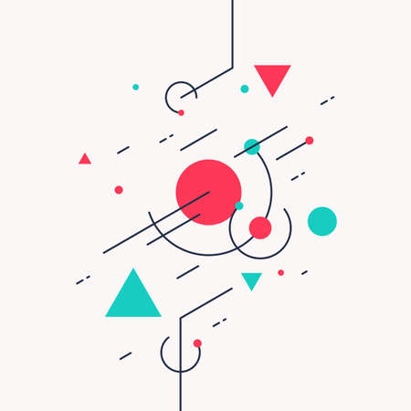 Retro abstract geometric background. The poster with the flat figures vector illustration.