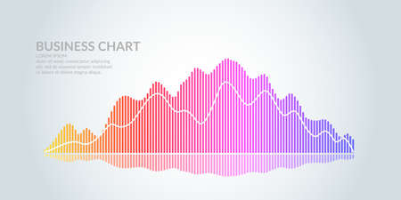 Business graph on a white background. Chart analysts of growth and falling profits. Vector illustration. Stock Illustratie