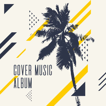 Cover music album. Modern poster with palm tree. Vector illustration. Stock Vector - 94465701