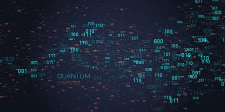 Calculation quantum computer. Analysis and data transfer. Vector illustration Çizim