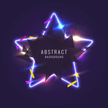 Abstract poster for the placement of text and information. Geometric shapes and neon glow against a dark background. Vectores