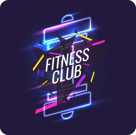 Modern neon poster for sports and fitness club.