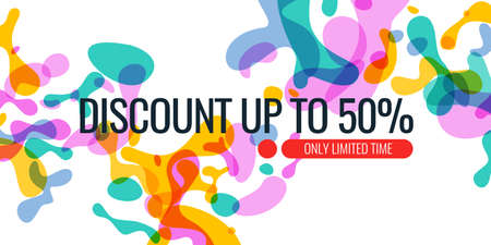 Bright colored banner sale with colored splashes on a white background. Vector illustration for advertising
