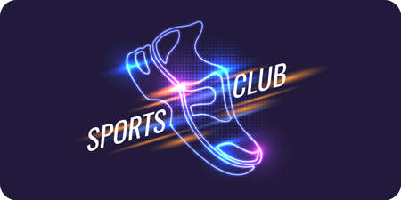 Modern neon poster for sports. Vector illustration Çizim