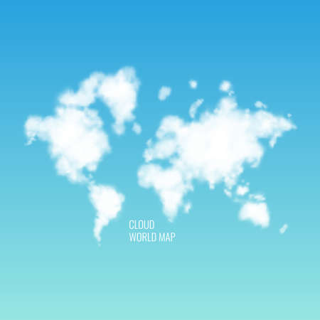 Clouds in the shape of a world map in the blue sky. Realistic vector illustration.