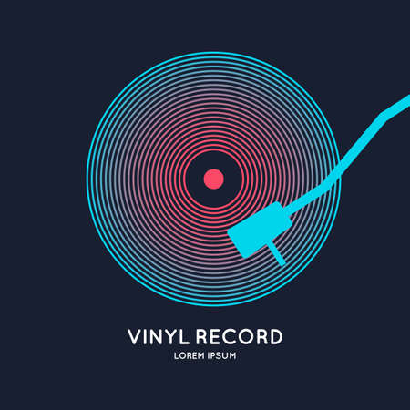 Poster of the Vinyl record. Vector illustration music on dark background. Ilustrace