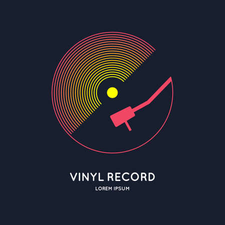 Poster of the Vinyl record. Vector illustration music on dark background. Ilustração
