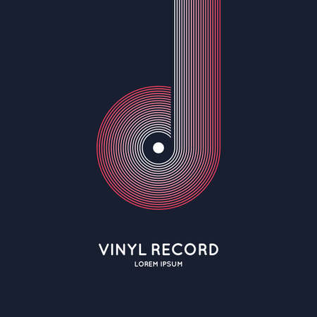 Poster of the Vinyl record. Vector illustration music on dark background.  イラスト・ベクター素材