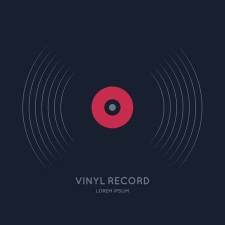 Poster of the Vinyl record. Vector illustration music on dark background. Çizim