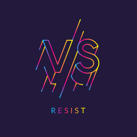 Bright poster symbols of confrontation VS - resist.  Vector illustration on dark background with a trendy minimalist style. Vectores
