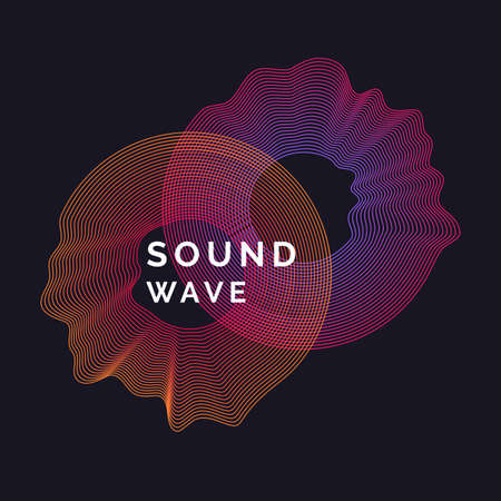 Music poster. Vector abstract background with a colored dynamic waves in orange and purple color.