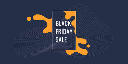 Black friday poster. Organic forms with dynamic waves and lines on a dark background. Vector.