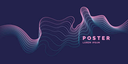 Vector abstract background with a colored dynamic waves, line and particles. Illustration