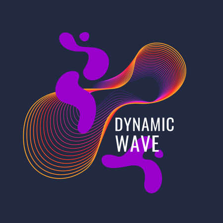 Organic forms with dynamic waves and lines on a dark background. Vector.