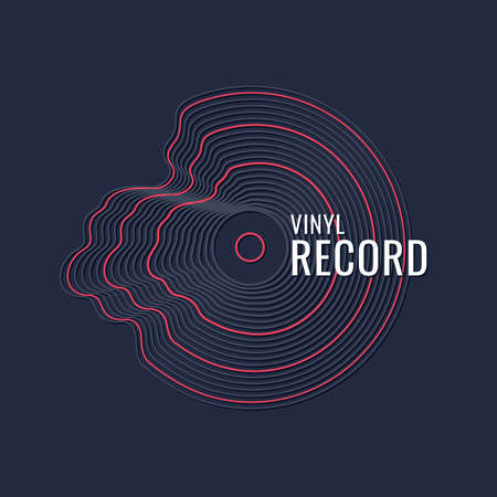 Poster of the Vinyl record. Vector illustration music on dark background. Vectores